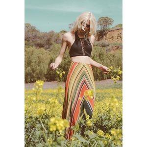 Free People Green Striped Maxi Skirt